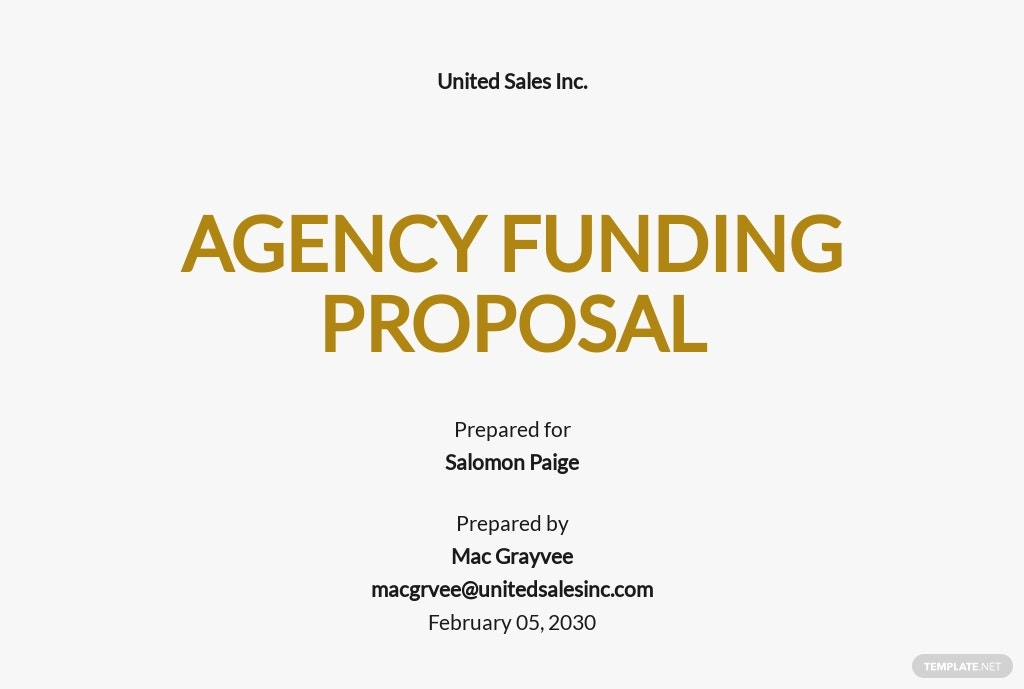 Agency Funding Proposal Template