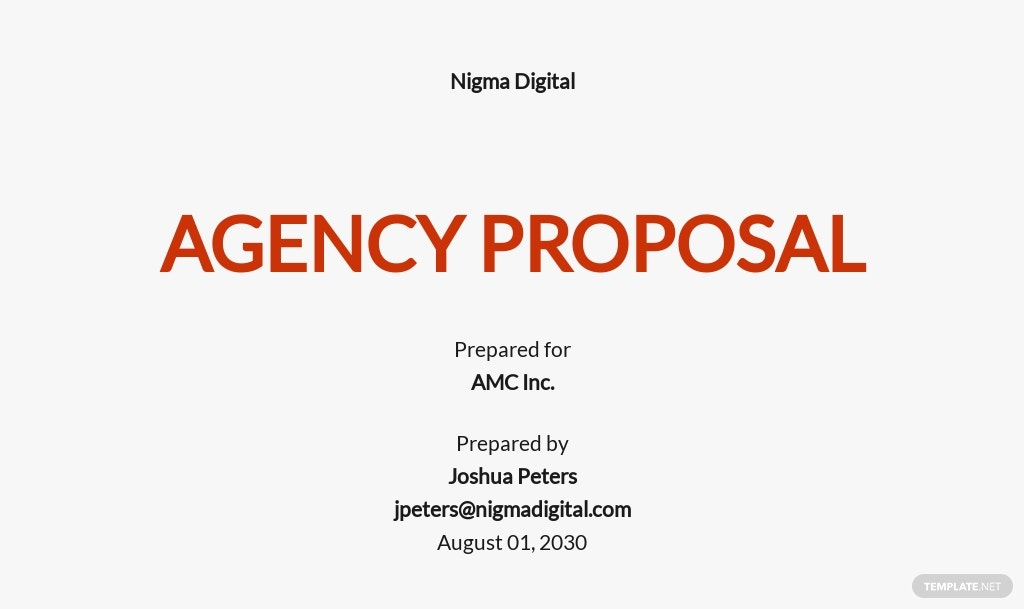 Agency Proposal Sample Template