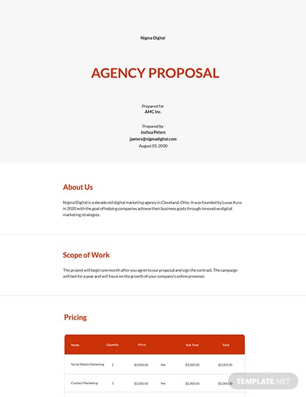 Free Agency Proposal Sample Template
