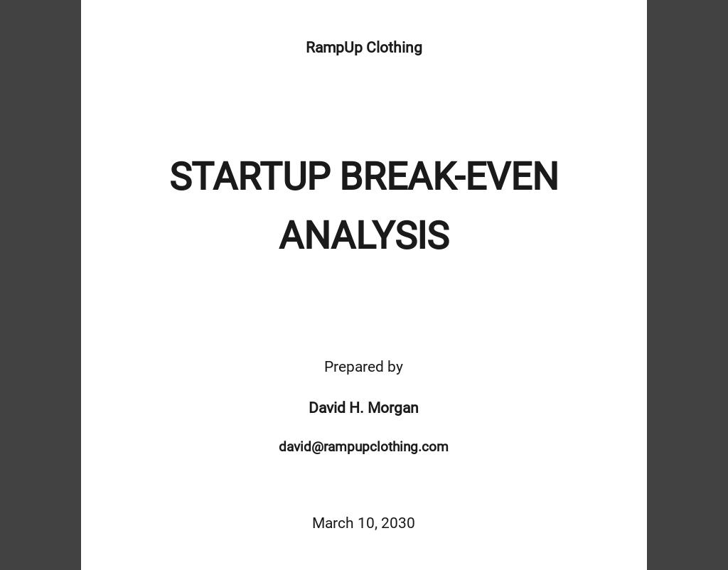 Startup Break Even Analysis Template