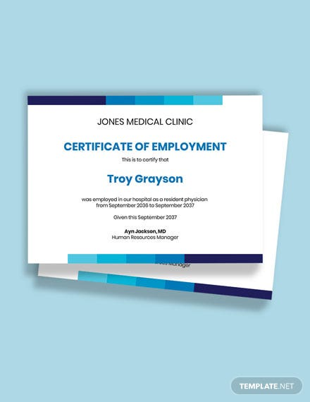 Free Experience Certificate for Doctors Template