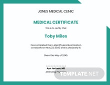 Health Certificate from Doctor Template