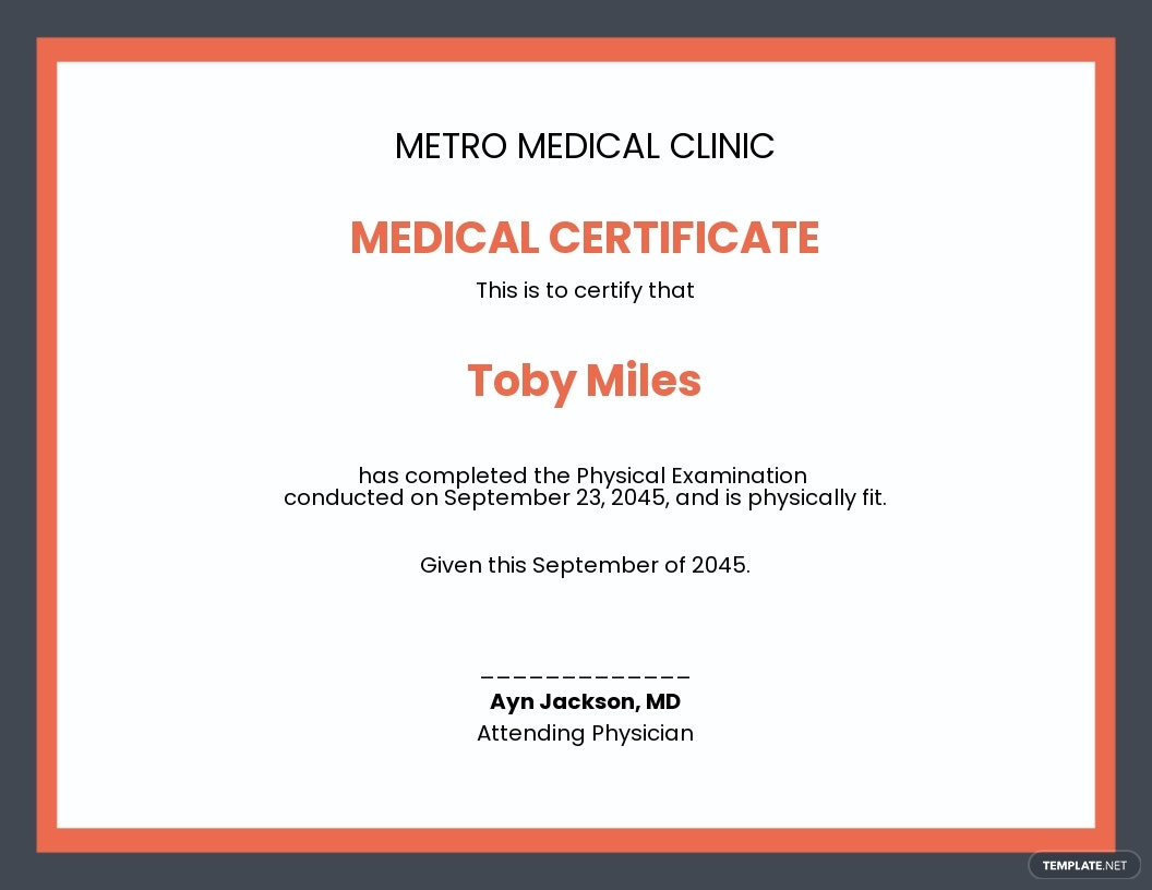 Doctor Fitness Certificate Template