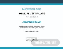Emergency Medical Certificate from Doctor Template