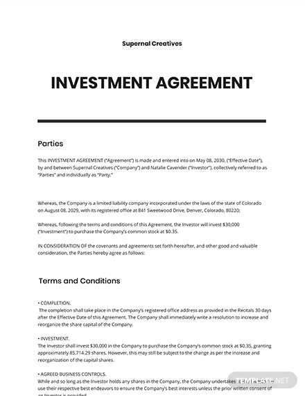 Startup Investment Agreement Template