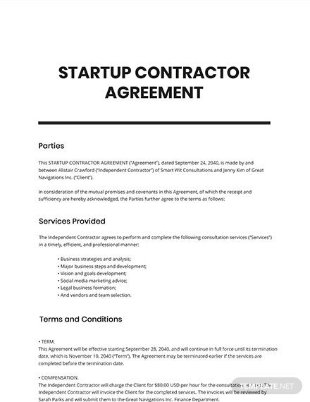 Startup Contractor Agreement Template