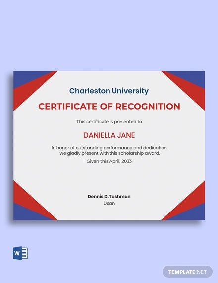 Scholarship Recognition Certificate Template