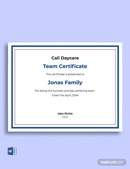 Team Recognition Certificate Template