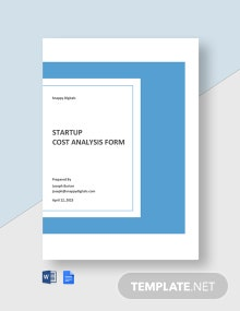 Startup Cost Analysis Form Template
