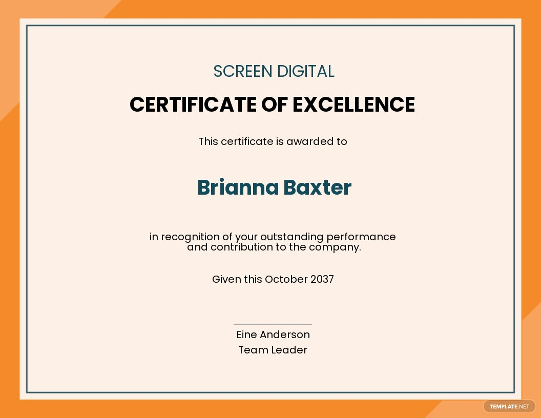 Employee Excellence Award Certificate Template