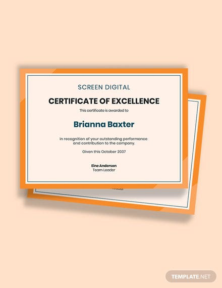 Free Employee Excellence Award Certificate Template