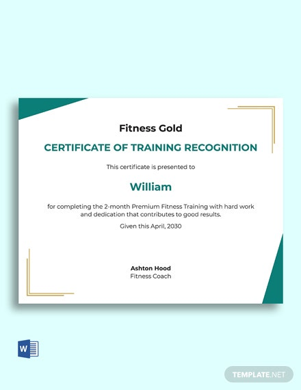 Training Recognition Certificate Template