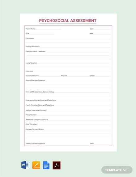 Free Psychological Assessment Template