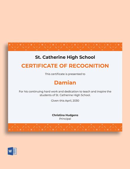 Teacher Recognition Certificate Template