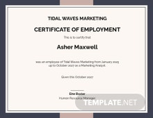 Certificate of Employee Excellence Template