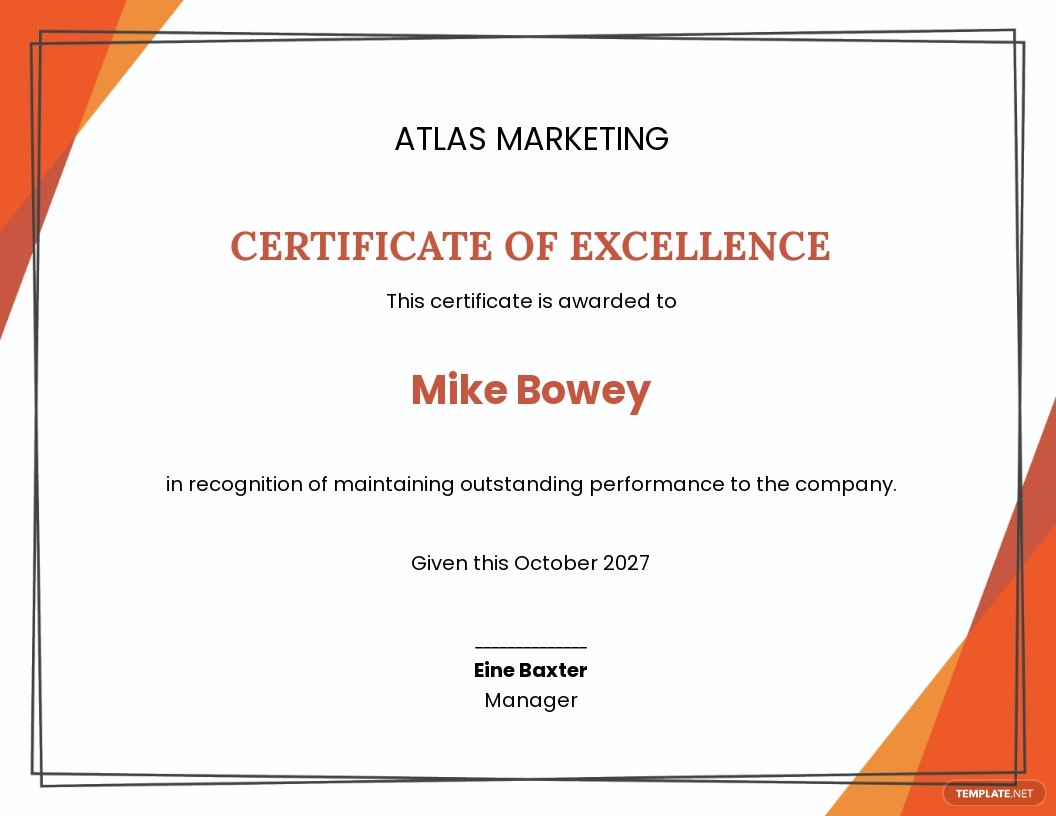 Corporate Employee Excellence Certificate Template