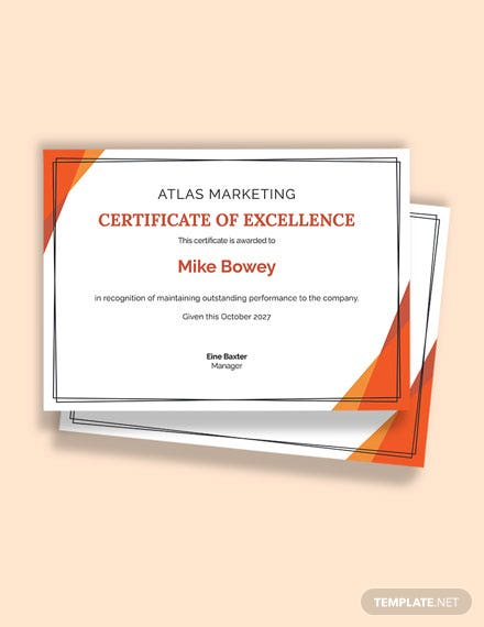 Free Corporate Employee Excellence Certificate Template