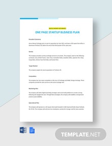One Page Startup Business Plan Template