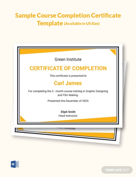 Free Sample Course Completion Certificate Template