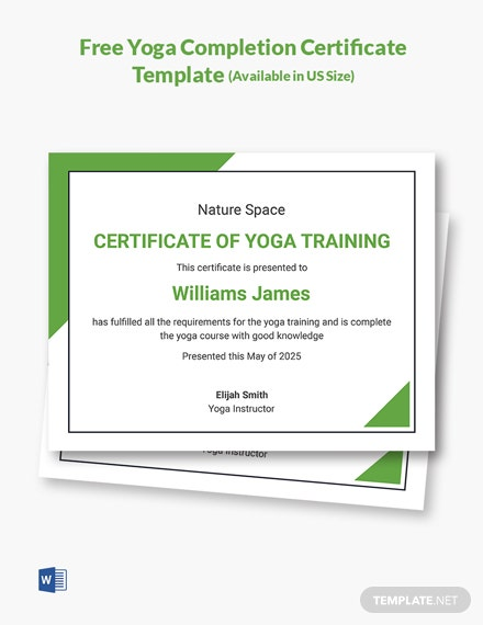 Free Yoga Completion Certificate Template