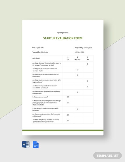 Startup Evaluation Form Template