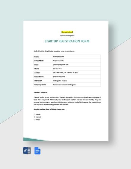 Startup Registration Form Template