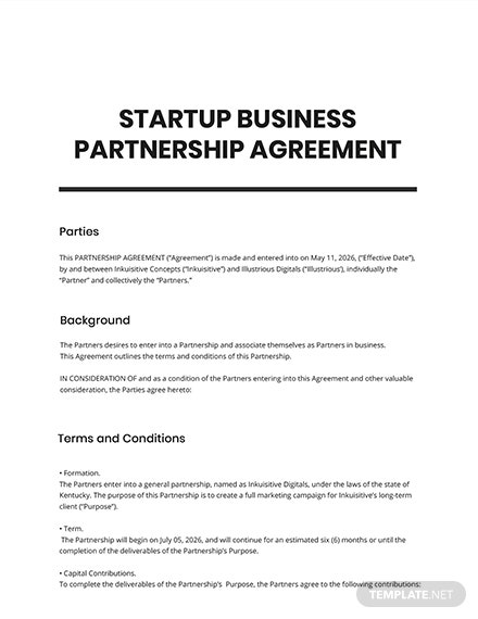 Startup Business Partnership Agreement Template