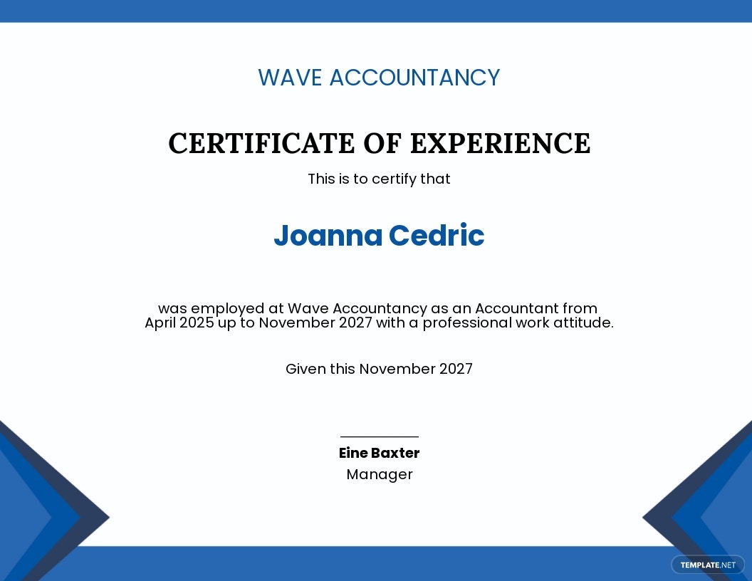Accountant Job Experience Certificate Template