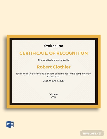 Years Of Service Recognition Certificate Template