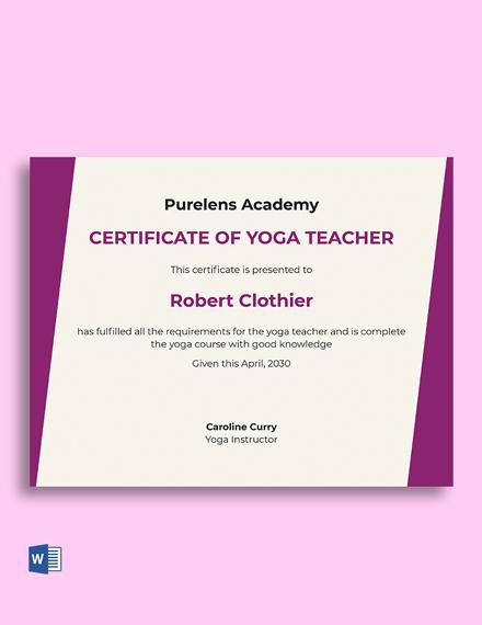 Free Yoga Teacher Certificate Template