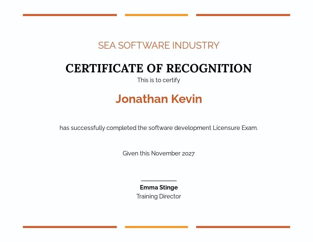 Free Software License Certificate Template.jpe