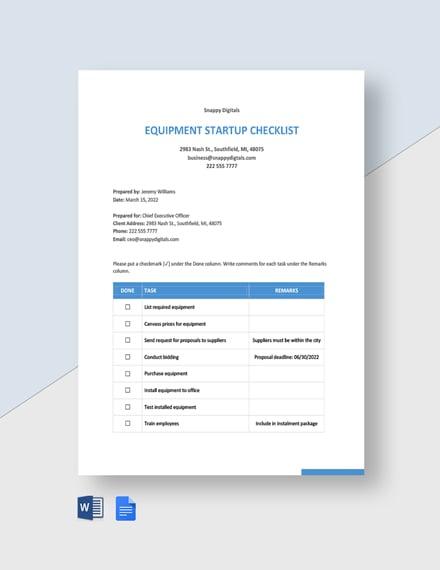 Equipment Startup Checklist Template