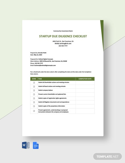 Startup Due Diligence Checklist Template
