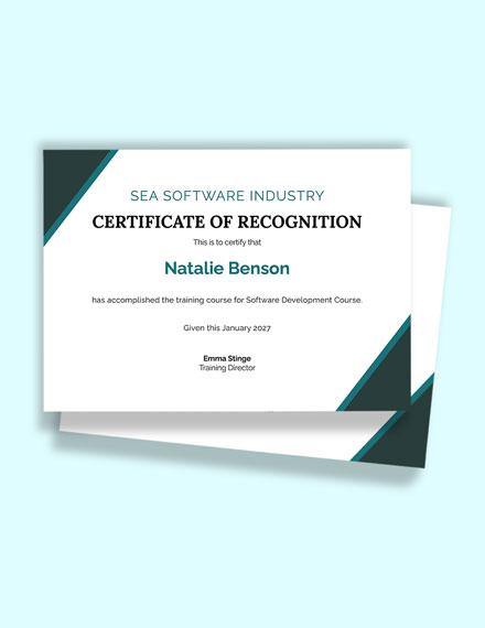 Free Software Development Certificate Template