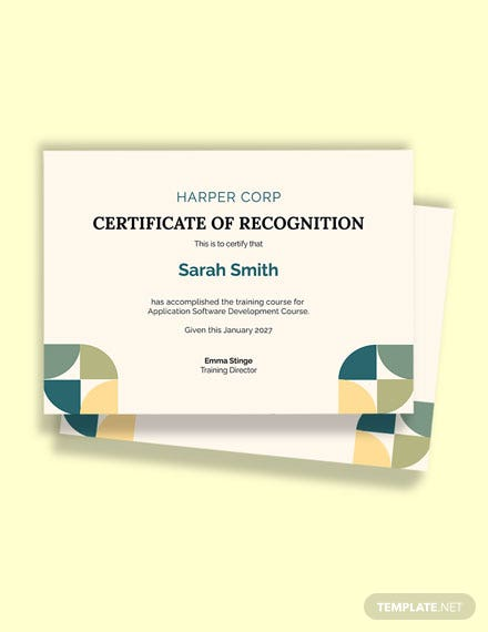 Free Application Software Certificate Course Template