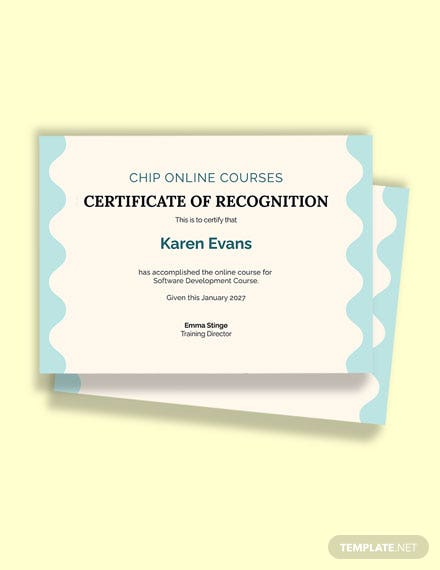 Software Online Training Certificate Template
