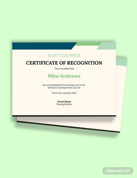 Software Training Certificate Template