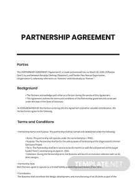 Startup Partnership Agreement Template