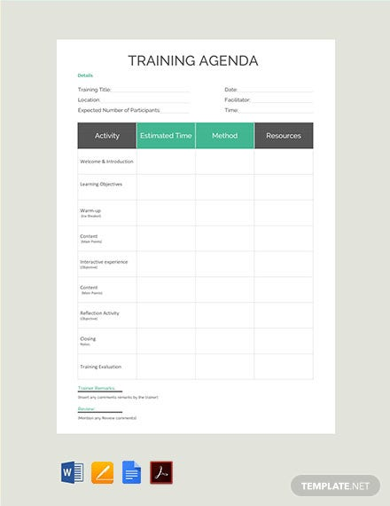Free Training Agenda Template