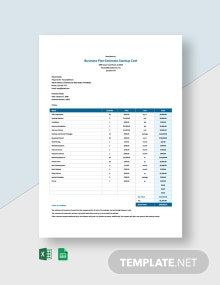 Business Plan Estimate Startup Costs Template