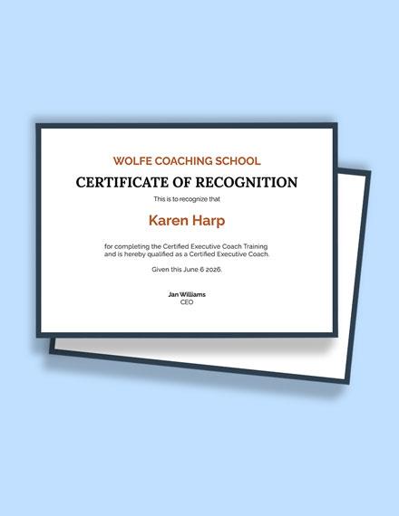 Free Executive Coaching Certification Template