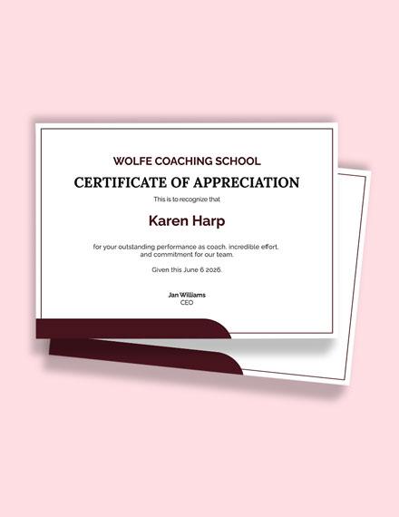 Free Appreciation Coach Certificate Template