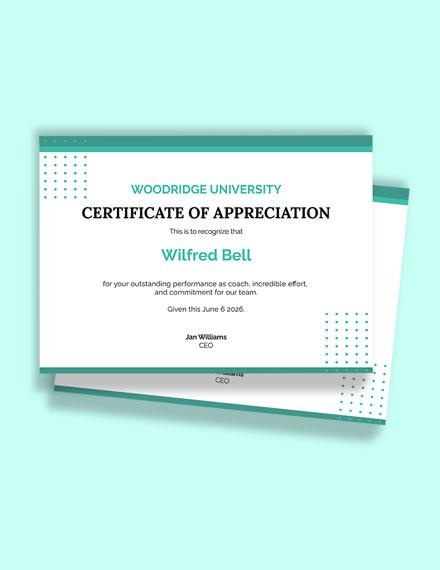Free Sports Coach Award Certificate Template