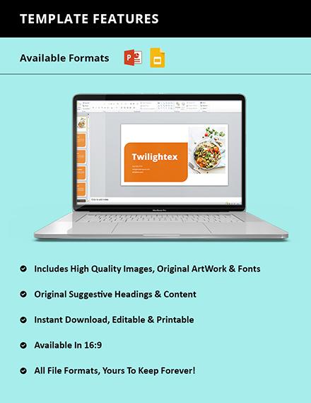 Food Startup Pitch Deck Format