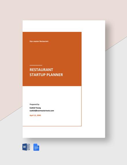 Restaurant Startup Plan Template