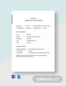 Startup Application Form Template