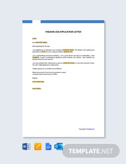 Free Fresher Job Application Letter Template