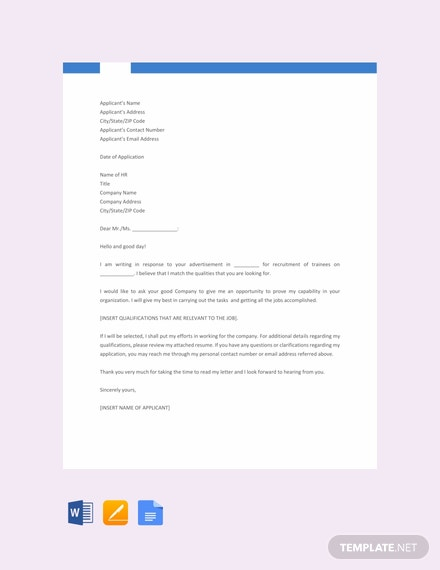 Free Fresher Job Application Letter Template