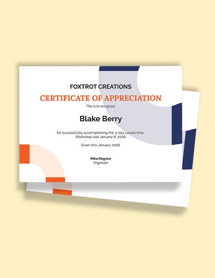 Participant Congratulations Certificate Template