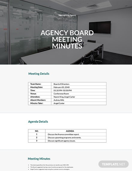 Agency Board Meeting Minutes Template